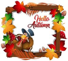 Happy autumn turkey wooden frame
