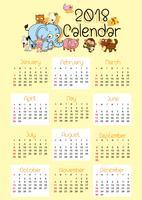 Modèle de calendrier pour 2018 avec des animaux mignons