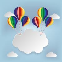 Paper art signboard cloud on sky