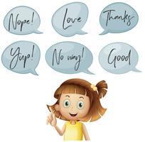 Chica y diferentes burbujas de discurso con palabras