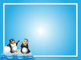 Border template with two penguins on ice