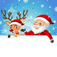 Papai Noel e veado no modelo em branco