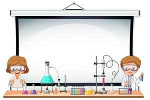 Border template with kids in science lab vector