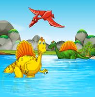 Prehistoric dinosaurs in a water scene