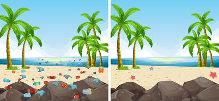 Poluição cena praia e limpos
