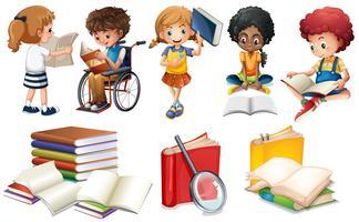 Barn läser böcker på vit bakgrund
