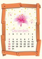 Calendar template for December with pink lily vector