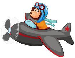 León montando avión vintage
