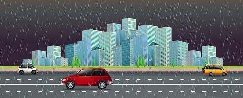 Stadsscène in de regen bij nacht