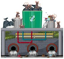 Unsanitary Waste Disposal with Rat vector