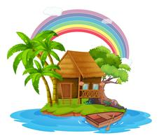 Eine kleine Hütte auf einer schönen Insel