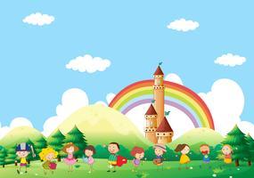Parkscène met veel spelende kinderen