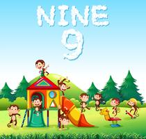 Nove scimmie che giocano al parco giochi