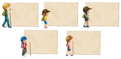 Paper template with kids with hiking stick