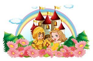 Cavaleiro e princesa no jardim de flores