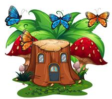 Farfalle che volano intorno alla casa di tronchi