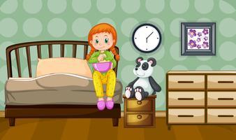 Niña y muñeca panda en dormitorio