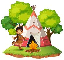 Indian infront of teepee
