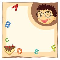 Paper template with boy and alphabets