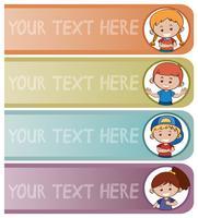 Quattro modelli di banner con bambini felici