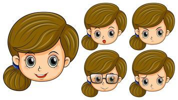 Linda garota com cinco emoções diferentes