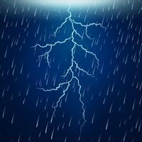 Fuerte lluvia y tormenta eléctrica en la noche.