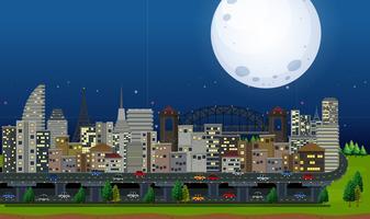 Une grande ville au clair de lune