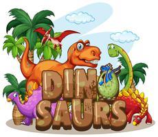 Diseño del mundo de los dinosaurios con muchos dinosaurios.