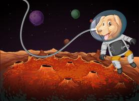 A dog astronaut in space