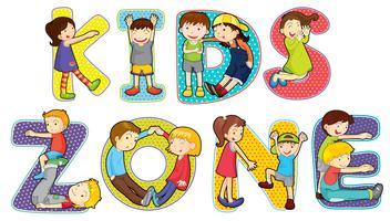 Children on kids zone symbol vector