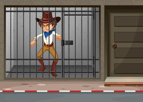 Cowboy being locked in jail