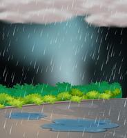 Escena de fondo con lluvia en el jardín