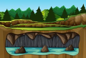 Underground water cave view vector
