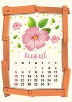 Plantilla de calendario con flores rosas para agosto