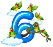 Six oiseaux sur ciel