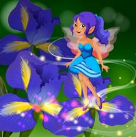 Fairy flying around flower garden
