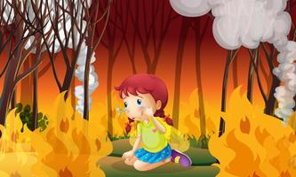A Girl Crying in Wildfire Forest
