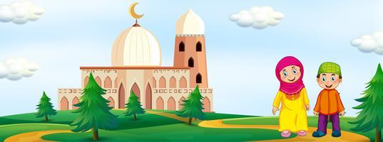 Niños musulmanes con fondo de mezquita