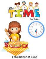 Een meisje eet om 6:30 uur het avondeten