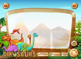 Plantilla de borde con muchos dinosaurios