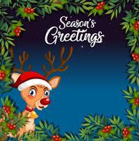 Ciervos en plantilla de tarjeta de Navidad