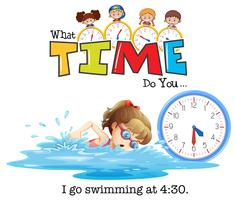 A girl swimming at 4:30