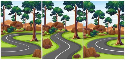 Tres escenas de parque con caminos vacíos.