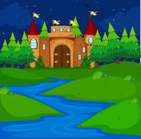 Torre del castillo en el campo por la noche