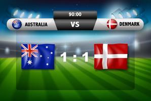 Concepto de la tabla de fútbol de Australia vs Dinamarca