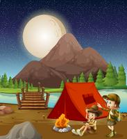 Kids camping in nature