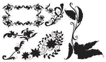 Design diferente para flores silhueta vetor