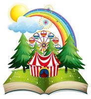 Livro com tenda de circo no parque