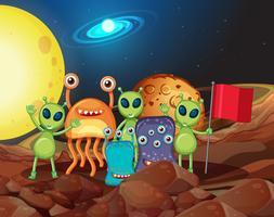 Många typer av utomjordingar på månen
