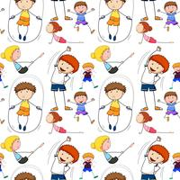 Seamless background with kids doing exercise